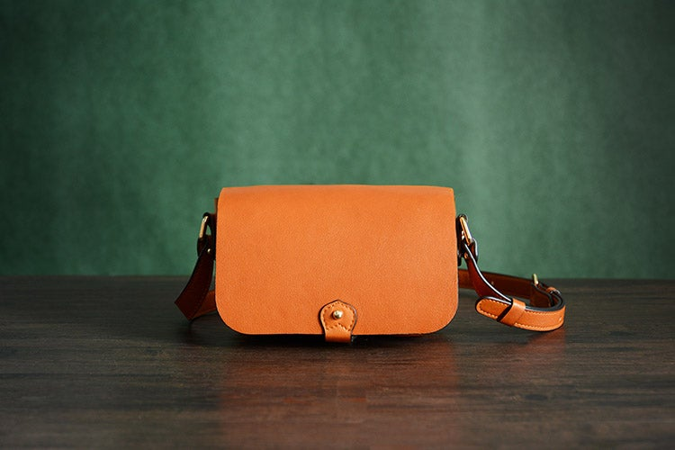 Image of Custom Handmade Itanlian Vegetable Tanned Leather Satchel Bag Crossbody Shoulder Bag D041