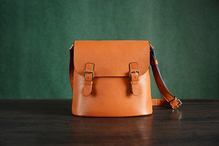 Image of Handmade Vegetable Tanned Italian Leather Messenger Bag Satchel Bag Crossbody Shoulder Bag D043