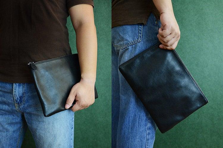 Image of Custom Handmade Vegetable Tanned Italian Leather Clutch Envelope Bag iPad Bag Pouch Bag D044