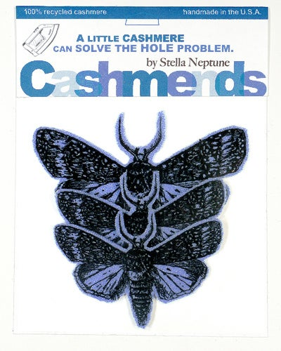 Image of Iron-on Cashmere Moths - Periwinkle Blue