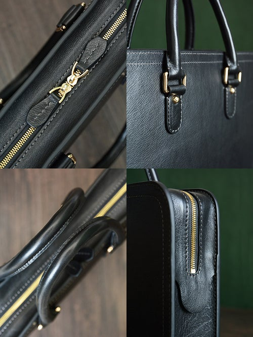 Image of Custom Handmade Vegetable Tanned Italian Leather Briefcase Mens Handbag Business Laptop Bag D046