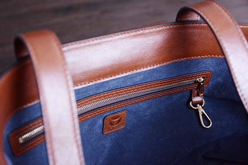 Image of Custom Handmade Vegetable Tanned Italian Leather Tote Bag Shoulder Bag Women Handbag D047