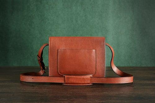 Image of Custom Handmade Vegetable Tanned Italian Leather Satchel Bag Shoulder Bag Women Pouch Bag D048