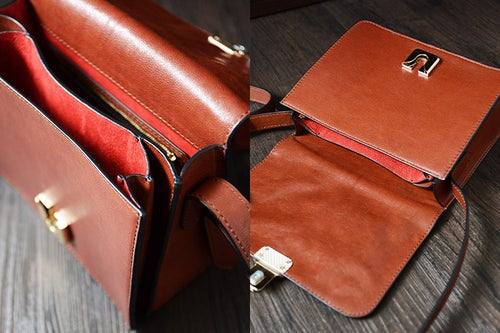 Image of Custom Handmade Vegetable Tanned Italian Leather Satchel Bag Shoulder Bag Women Pouch Bag D048