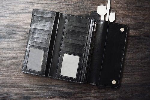 Image of Custom Handmade Vegetable Tanned Italian Leather Wallet Long Wallet Money Purse Card Holder D051
