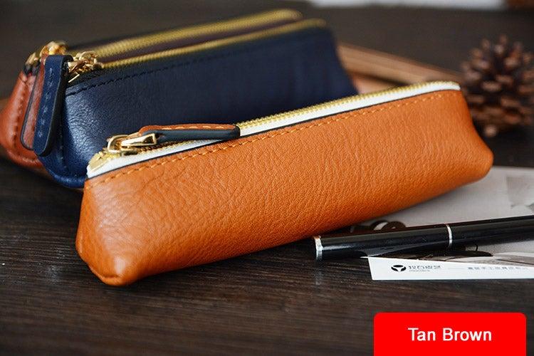 Image of Custom Handmade Vegetable Tanned Italian Leather Pen Bag Pencil Case Pen Pouch D052