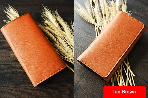 Image of Custom Handmade Vegetable Tanned Italian Leather Wallet Card Holder Money Purse Clutch D053