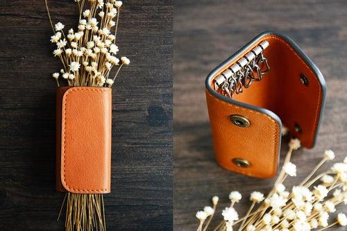 Image of Custom Handmade Vegetable Tanned Italian Leather Key Holder Key Case D055