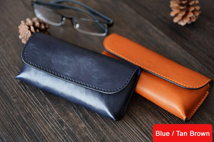 Image of Custom Handmade Vegetable Tanned Italian Leather Sunglass Case Pouch Pocket D056