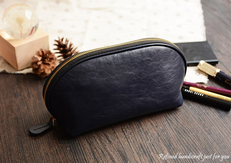 Image of Custom Handmade Vegetable Tanned Italian Leather Cosmetic Bag Toiletry D057