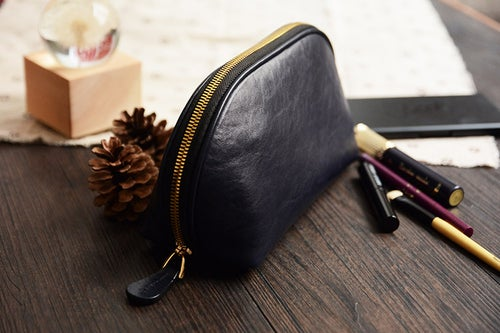 Image of Custom Handmade Vegetable Tanned Italian Leather Cosmetic Bag Toiletry D057