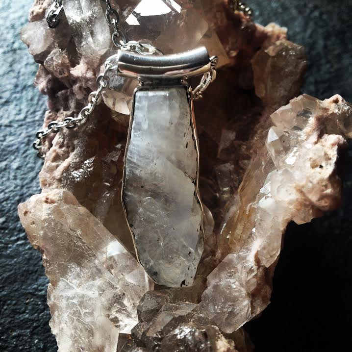 "Image of For Goddess Lisa ""The Essential Goddess""~Raw Rainbow Moonstone of the Goddess~Moonstone S.S. Pendant"