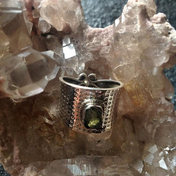 Image of Moldavite Hammered Sterling Silver Ring