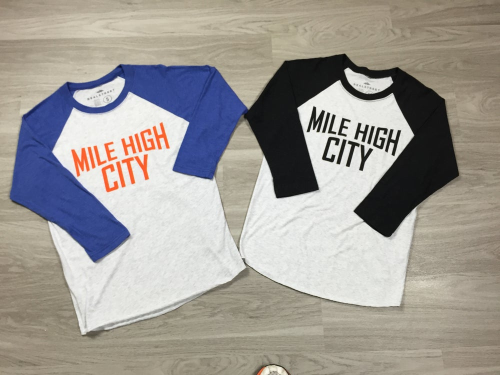 Image of Mile High City Raglan/Orange & Blue