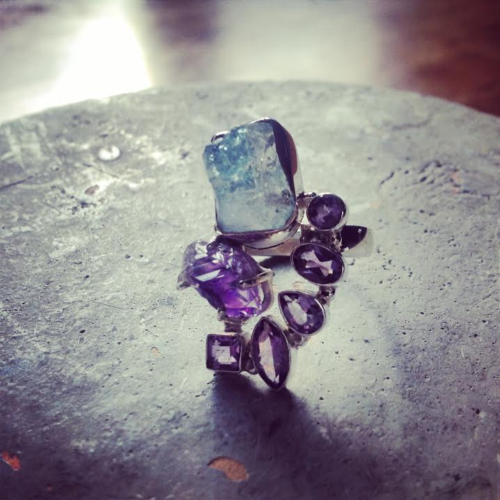 Image of  Open to Truth and Speak Your Truth ~Aqua Aura Quartz and Amethyst