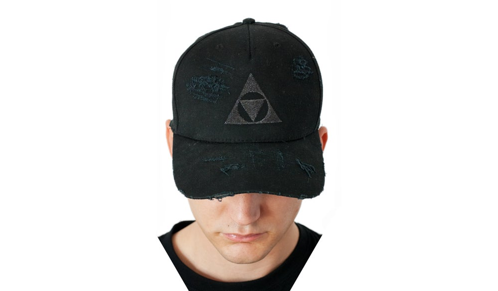 Image of Black Distressed bball cap