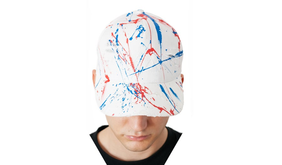Image of Wht/Rd/Bl Distressed painter's cap