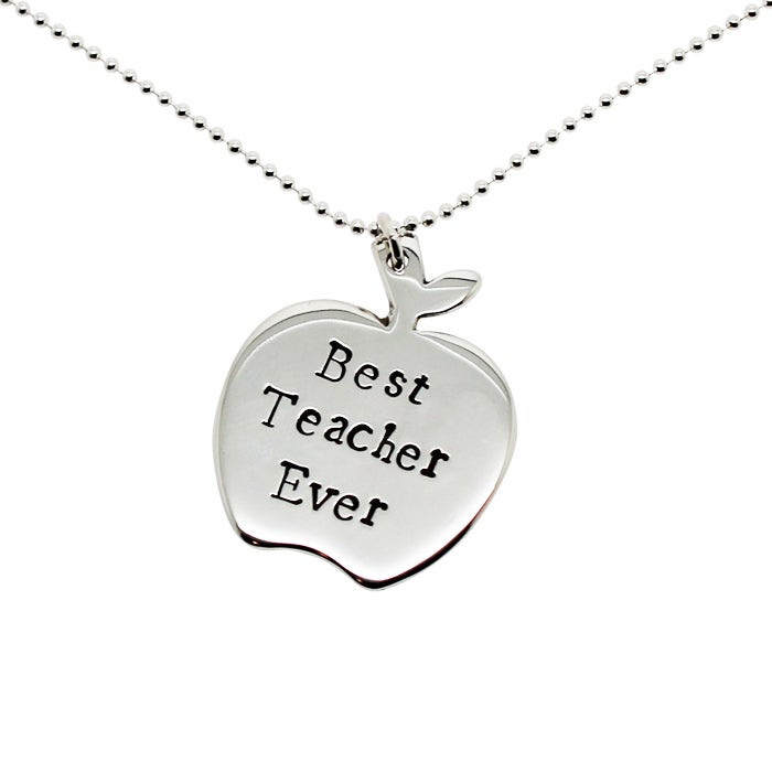 Image of Personalised Sterling Silver Apple Necklace