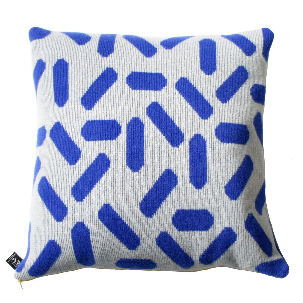Image of Tic tac cushion large in grey and blue