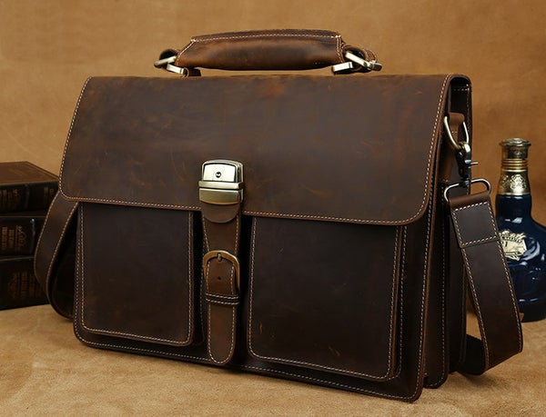 "Image of Men's Handmade Vintage Leather Briefcase / Messenger / 14"" 15"" Laptop 15"" MacBook Bag (n47-2)"