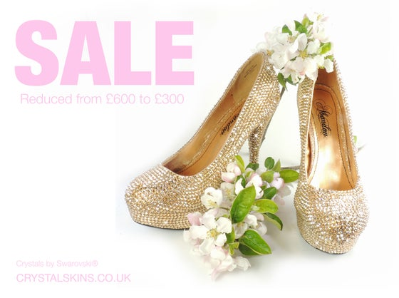 Image of Gold Crystal Platform Heel Shoes. Size 5. WERE £650.00. SAVE £400.00