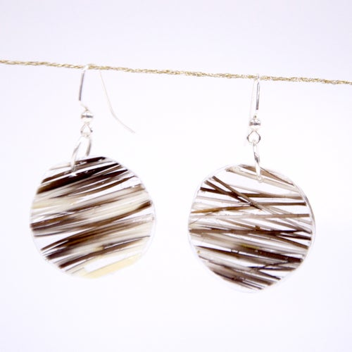 Image of Sealed in Ice Quill Circle Drop Earrings