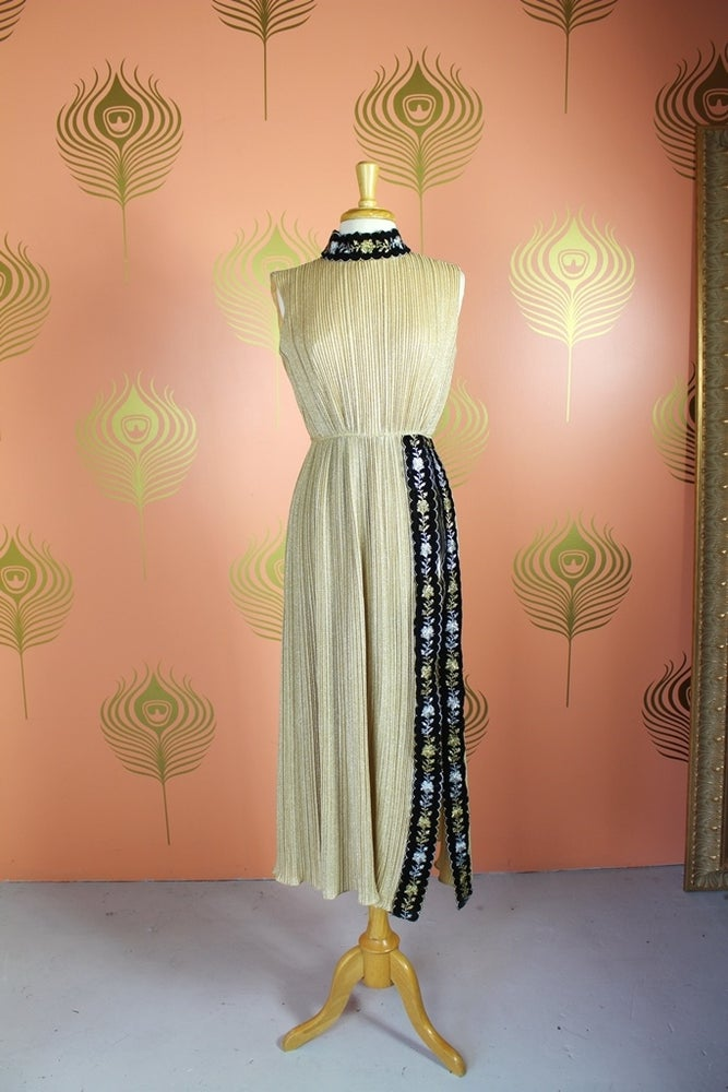 Image of Lamé Grecian Maxi Dress