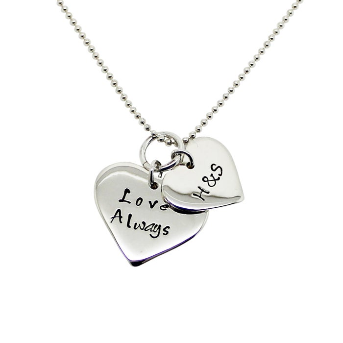Image of Personalised 9ct Gold double love heart necklace
