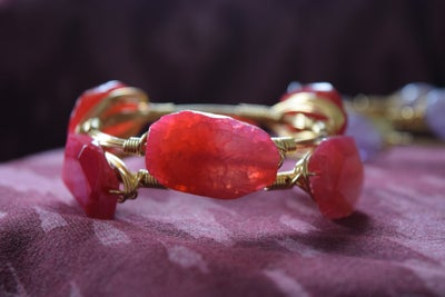 Image of Cracked Pink Agate Bangle
