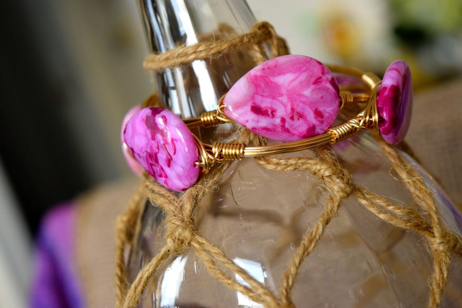 Image of Pink Crazy Lace Agate Bangle