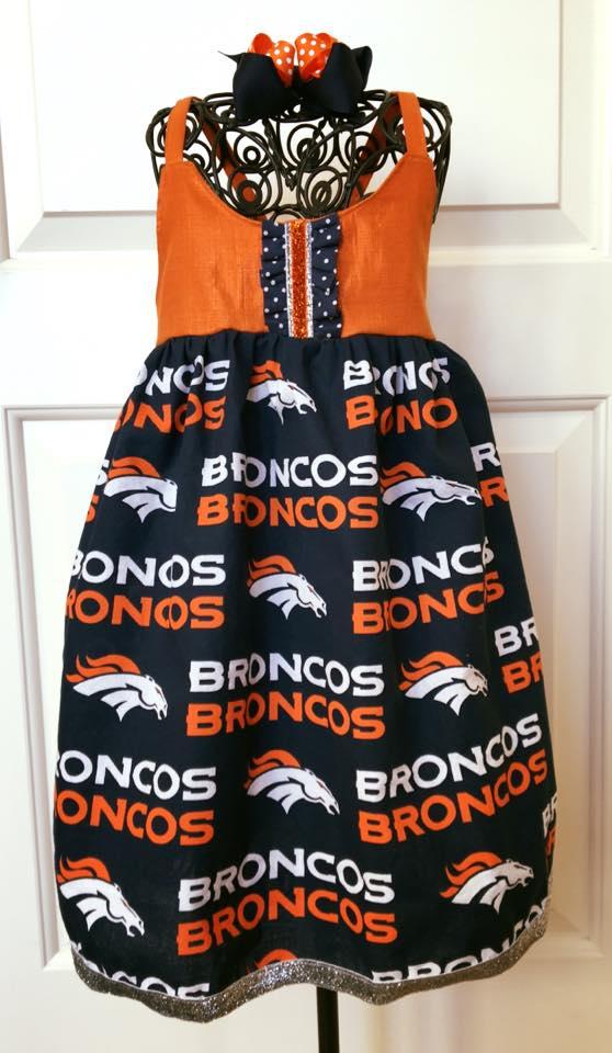 Image of Orange & Blue Denver Broncos Bow set w/ FREE dress