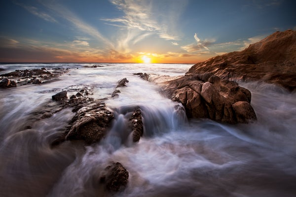Image of Laguna Beach Waterfall at Sunset