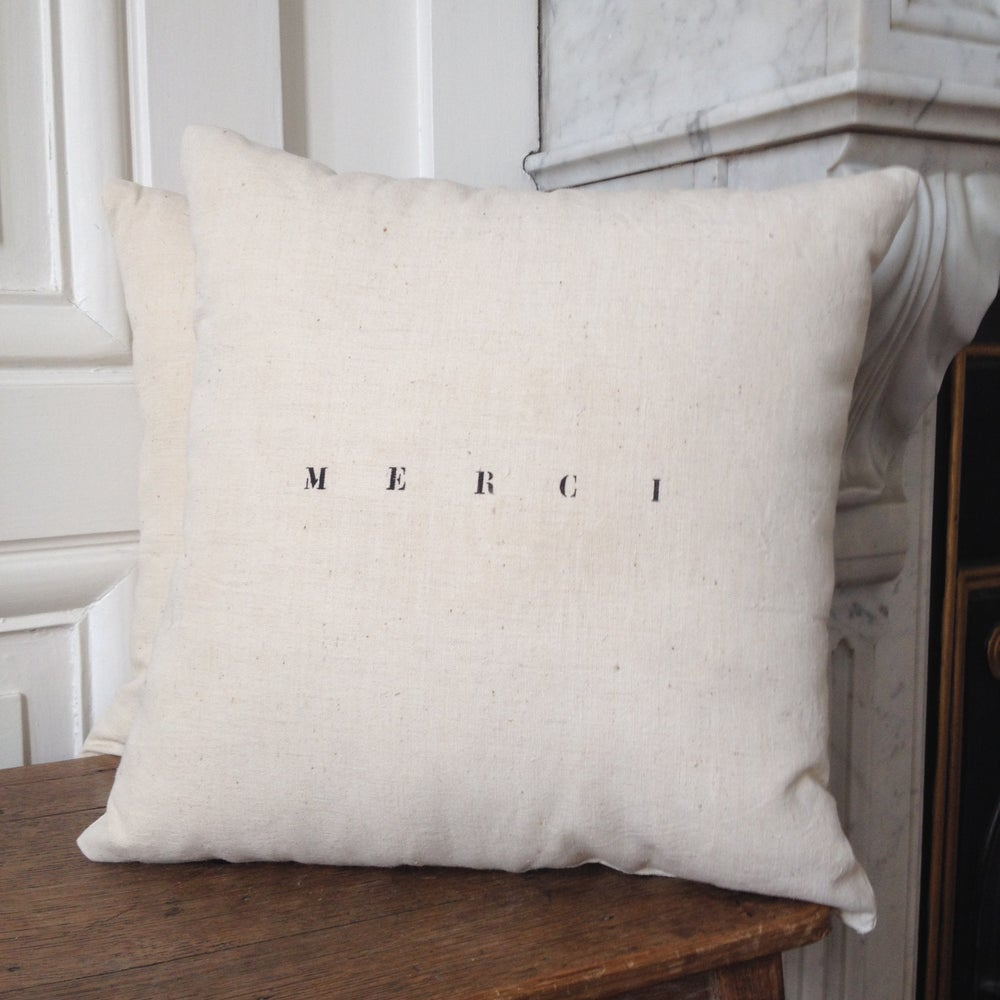 Image of coussin écru merci small