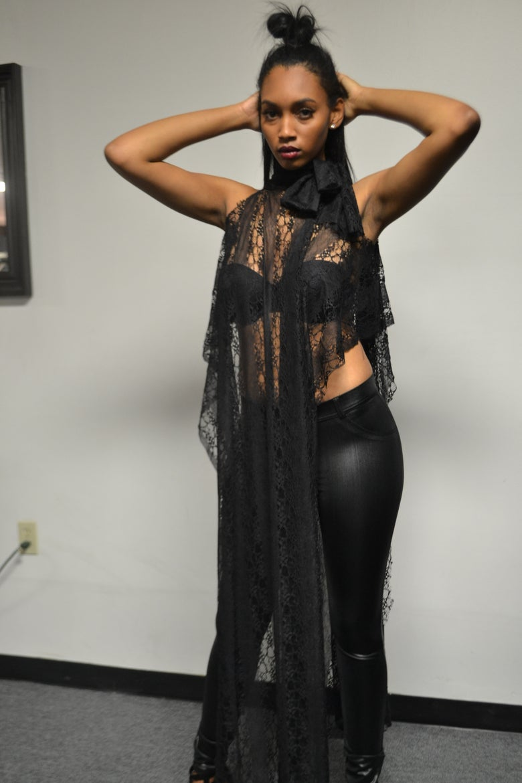 Image of Black Lace Asymetrical Maxi Shirt