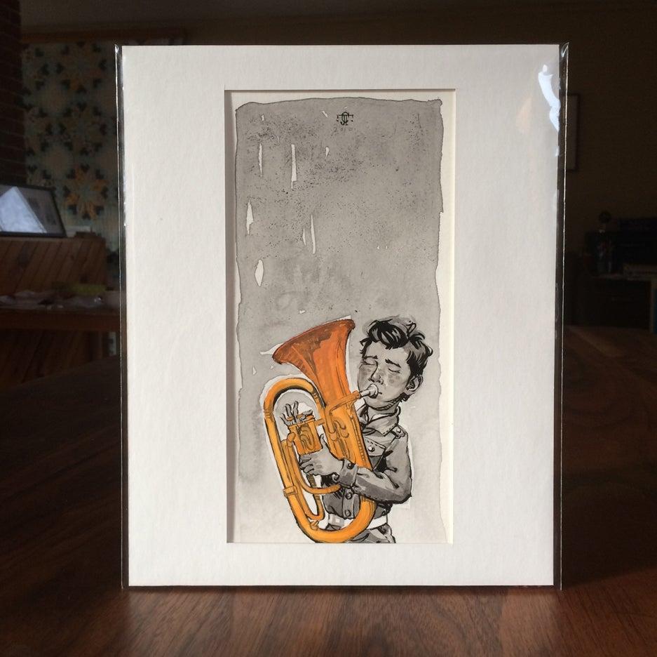 Image of Sketch - Boy with tuba