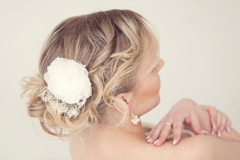Image of Handmade genuine silk bridal hair flower with freshwater pearls and gypsophila