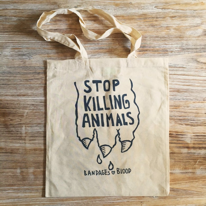 Image of STOP KILLING ANIMALS tote bag