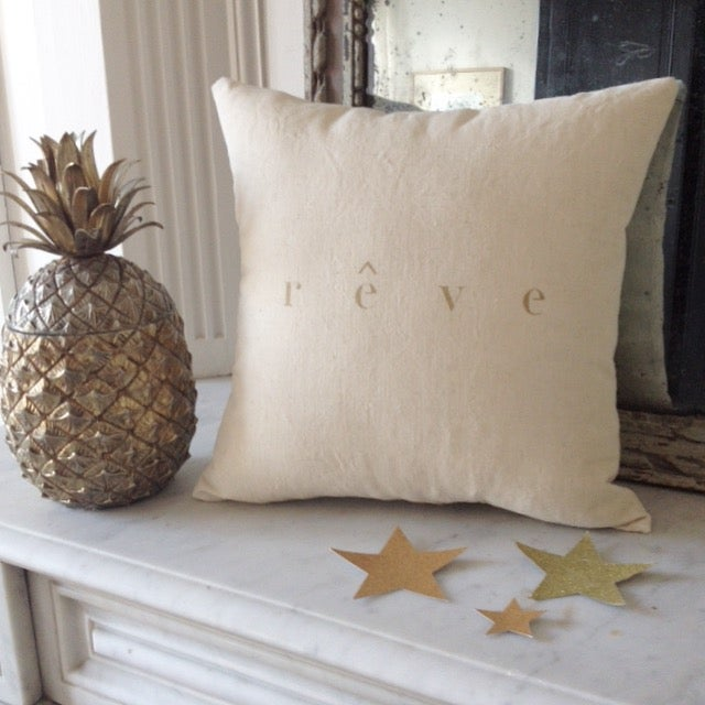 Image of coussin écru rêve or small