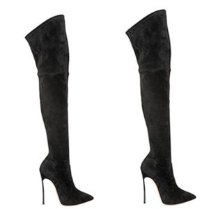 Image of Black Suede Thigh High Boots