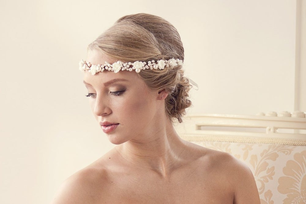 Image of Pearl bridal tiara flower crown with faux pearls and small silk flowers