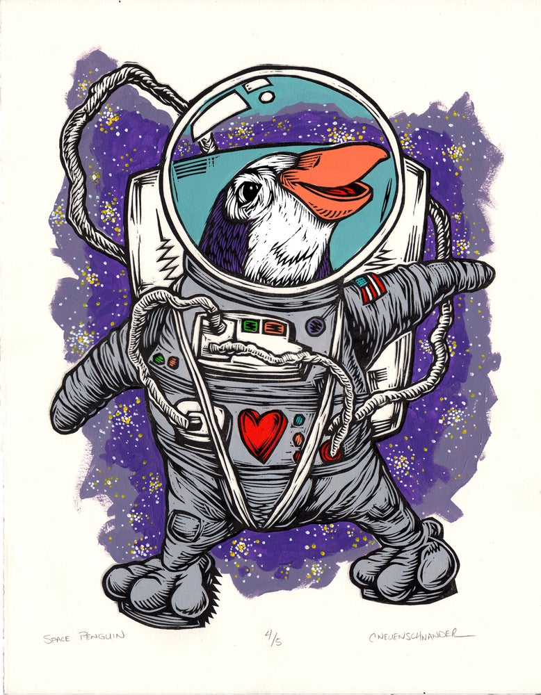 Image of Space Penguin Print