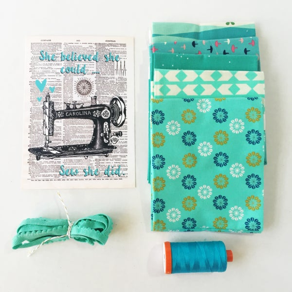 Image of Aqua Inspirational Vintage Sewing Machine Art Print (5x7)