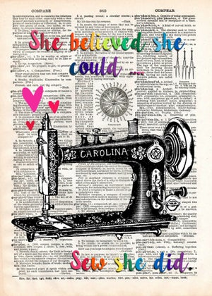Image of Rainbow Inspirational Vintage Sewing Machine Art Print (5x7)