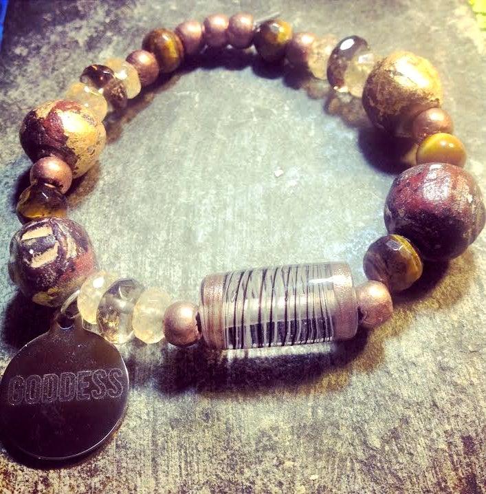 Image of Goddess Tribal Warrior Arise ~Mala Bead,Copper,Tiger Eye,Citrine,Smoky Quarz