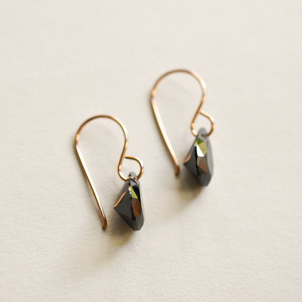 Image of Black cubic zirconia pear earrings