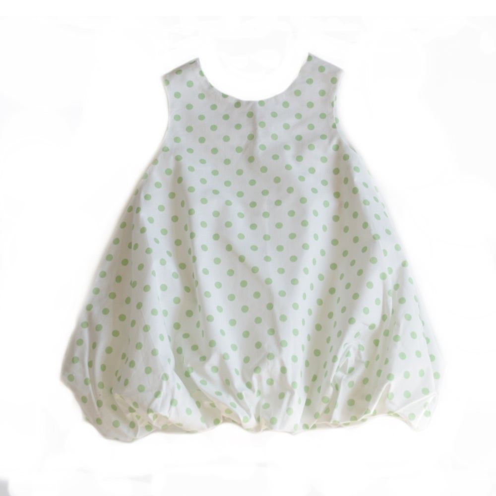 Image of Balloon Dress-green dots