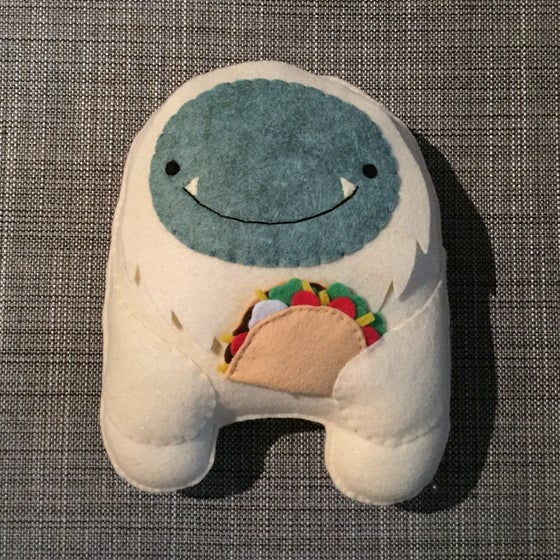 Image of biggie yeti with taco plush