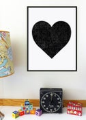 Image of Black Heart Minimalist Silkscreen Print - New!