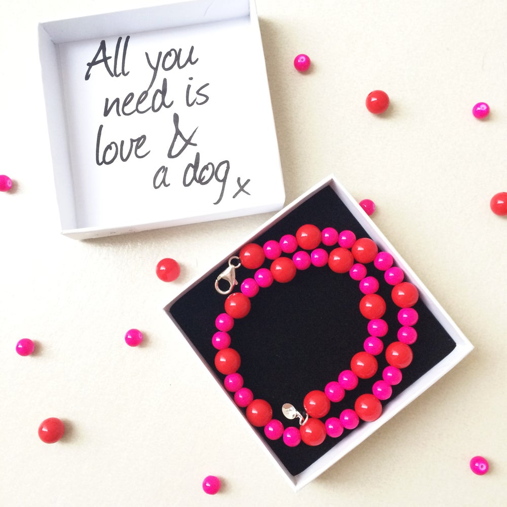 Image of Ruby ~ Hot pink & Red Beaded Dog-Necklace