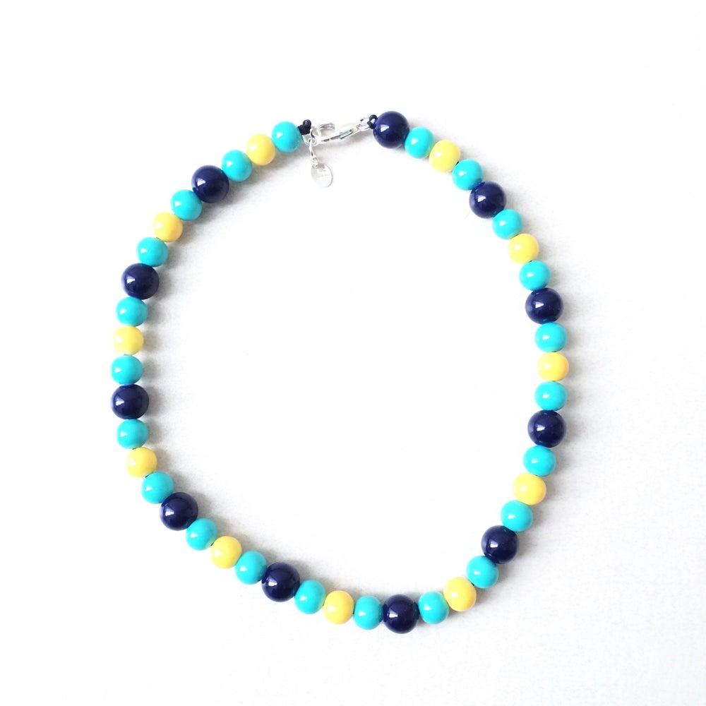 Image of Margate Blue ~ Navy, Yellow & Turquoise Beaded Dog-Necklace